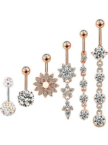 6 Stück 14g Edelstahl Bauchnabel Ringe Baumeln Bauchnabel Nabel Ringe für Damen, 6 Stile (Rosa Gold)