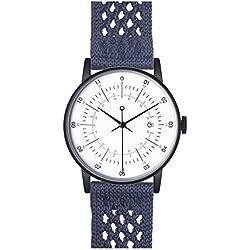 "squarestreet ""Plano"" Edelstahl IP Matte Schwarz Swiss Quarz Weib Datum Blau Navy Nylon Stoff Unisex Uhr"