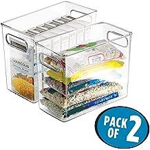 mDesign Juego de 2 organizadores de nevera y congelador – Cajas para almacenar alimentos y bebidas – Prácticos cajones para cocina de color transparente