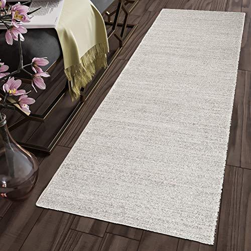 Tapiso sari tappeto passatoia moderno cucina corridoio ufficio entrata casa cucina da ingresso grigio argento tinta unita monocromatico a pelo corto 70 x 260 cm