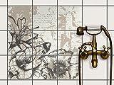 Fliesenspiegel Dekorationssticker | Fliesen-Sticker Aufkleber Folie selbstklebend Bad renovieren Küche Bad Ideen | 20x20 cm Muster Ornament Styleful Vintage 1 - 9 Stück