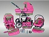 Chilly Kids Dino Kinderwagen Sommer-Set (Sonnenschirm, Autositz & Adapter, Regenschutz, Moskitonetz, Getränkehalter, Schwenkräder) 17 Pink & Leopard