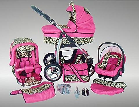 Chilly Kids Dino Kinderwagen Sommer-Set (Sonnenschirm, Autositz & Adapter, Regenschutz,