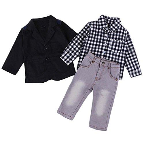JaneDream Boy Kid Black Coat Plaid Shirt Pant