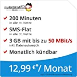 DeutschlandSIM LTE Mini SMS 3 GB [SIM, Micro-SIM und Nano-SIM] monatlich kündbar (3 GB LTE-Internet mit max. 50 MBit/s + Datenautomatik, 200 Minuten, SMS-Flat, 12,99 Euro/Monat) O2-Netz preiswert