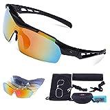 Carfia TR90 UV400 Unisex Gafas de Sol Deportivas Polarizadas 5 Lentes de Cambios Incluido para Deporte y Aire Libre Ciclismo Conducción Pesca Esquiar Golf Correr F
