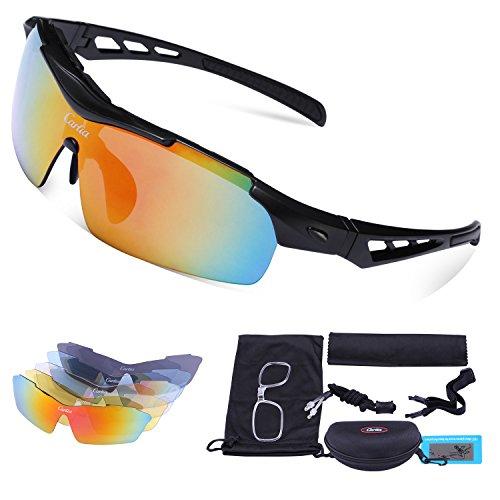 Carfia Multi TR90 UV 400 Outdoor Sport Brille Polarisiert Sonnenbrille Radbrille mit 5 wechselbare Linsen für Radfahren Laufen Angeln Baseball (G)