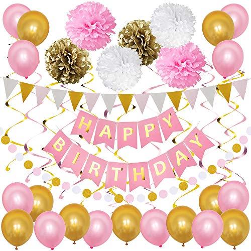 stag Mädchen Junge Luftballons Kindergeburtstag Dekoration Set Geburtstagsdeko Happy Birthday Girlande, Rosa Weiß ()