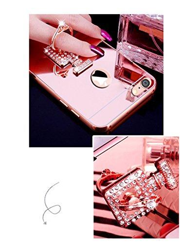 Etsue Glitzer Schutzhülle für iPhone 6s Plus/iPhone 6 Plus Strass Diamant Spiegel Handyhülle Hardcase Hartschale Bumper Metall Handyhülle Hülle, Glänzend Glitzer Spiegel Hülle Mirror Case Mit Kristall Parfümflasche Rose Gold