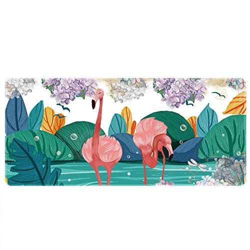 Demarkt Mauspad, Gaming Büro Mauspad, wasserdichte Schreibunterlage für Büro- oder Heimbereich, Flamingo-Muster size 100x50x0.3cm -