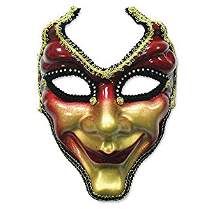 Red and gold full face venetian style mask (máscara/careta)