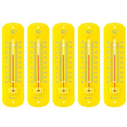 Lantelme 7236 Set Metallthermometer Gelb 5 Stück - Analog Metall Thermometer mit Einem...