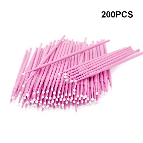 200 Stück Einweg Microbürsten, Wimpernbuerste für Wimpernverlängerung (Rosa) -