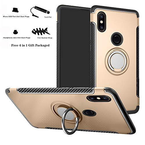 Labanema Xiaomi Mi Mix 2S Funda, 360 Rotating Ring Grip Stand Holder Capa TPU + PC Shockproof Anti-rasguños teléfono Caso protección Cáscara Cover para Xiaomi Mi Mix 2S - Oro