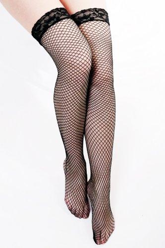 DRESS ME UP Sexy Karneval Strümpfe Overknee Kniestrümpfe Fishnet Stockings Netzstrümpfe Schwarz Z061