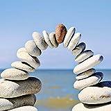 Artland Qualitätsbilder I Glasbilder Deko Glas Bilder 20 x 20 cm Wellness Zen Stein Foto Blau D1IT Rot an der Spitze - Kiesel