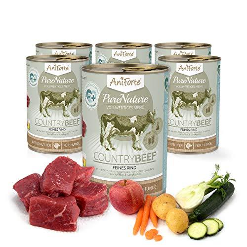 AniForte PureNature Country Beef Nassfutter 6x400g Hundefutter- Naturprodukt für Hunde