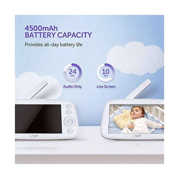 "Baby Monitor, VAVA 720P 5"" HD Display Video Baby Monitor with Camera and Audio, IPS Screen, 480ft Range, 4500 mAh Battery, Two-Way Audio, One-Click Zoom, Night Vision and Thermal Monitor VAVA 【High quality 5-inch baby monitor】Equipped with an advanced 5-inch LCD screen and 720P HD camera, the image quality is 10 times higher than the traditional 240P display baby monitor. When your baby moves, it can move 270° horizontally or 110° vertically, and can also zoom in 2x and 4x. It also has full-color images of the day and grayscale infrared images of the night, so you can clearly see all the subtle movements of your little baby. 【Up to 24hr Battery Life】 VAVA Baby monitor built in 4500mAh rechargeable battery lasts for 12hrs in display mode, 24hrs with the display turned off for full-day monitoring of your baby. 【Effortless Monitoring】 LED noise indicators and an external thermostat keep you accurately updated on your baby's wellbeing; set to the highest to alert even the heaviest sleeper or set to low volume to hear only loud noises with 7 volume levels.When your baby is crying, you can immediately respond to the walkie-talkie system to calm your baby. 4"