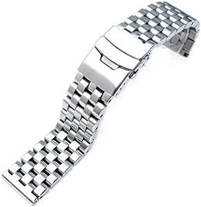 Cinturino in acciaio inossidabile 316L con collegamento solido, 20mm, 22mm o 24mm, con logo Strapcode, occhiello dritto