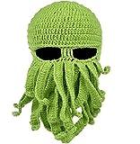 MOONPOP Handarbeit Lustige Oktopus Strickmütze Bartmütze Stickmütze Häkeln Wollmütze Halloween Maske Gesichtsmaske (Grün)