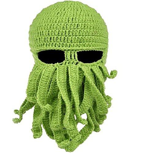ustige Oktopus Strickmütze Bartmütze Stickmütze Häkeln Wollmütze Halloween Maske Gesichtsmaske (Grün) (Oktopus Halloween-kostüm)