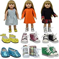 The New York Doll Collection 6 Pares De Muñeca Zapatos y Zapatillas - Encaja 18 pulgadas / 46 cm Muñecas - (Estilo 1) Muñeca Zapatos - Muñeca Zapatillas - Muñeca Accesorios