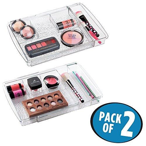 mDesign 2er-Set Kosmetik Organizer ausziehbar – flexible Aufbewahrungsbox für die Schublade – perfekt zur Schminkaufbewahrung, Schmuck und für kleine Badaccessoires – durchsichtig