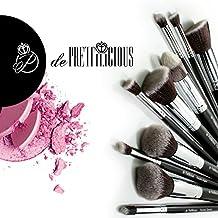 Juego de maquillaje Perfect Kabuki (10 piezas), con cepillo cilíndrico y bolsa para cepillo suave (12 ranuras) y e-Book de belleza