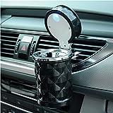SOEKAVIA Portable LED Auto Aschenbecher mit deckel Raute Muster Aschenbecher mit Halterung für Auto-schwarz