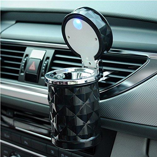 SOEKAVIA Portable LED Auto Aschenbecher mit deckel Raute Muster Aschenbecher mit Halterung für Auto-schwarz - Aschenbecher Auto Getränkehalter