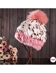 Qiaoba- Mme automne et hiver chaude en laine de lapin chaude Bonnets tricotés chauds