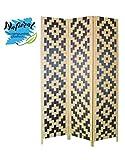 Biombo de Bambú Edición Twin Peaks Tres Paneles diseño Stars, Tonos Natural y Negro para decoración 180 x 135 cm. - Hogar y más