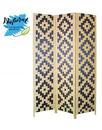 Biombo Separador de Bambú Edición Twin Peaks Tres Paneles, Natural y