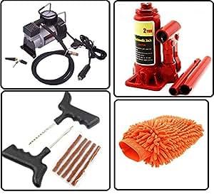 AutoStark Car Accessories Combo Air Compressor + 2 Ton Hydraulic Bottle + Puncture Repair Kit + Microfibre Cloth