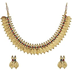 The jewelbox maroon green lakshmi gold coin necklace earring set for Women