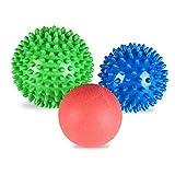 Beschoi Sfere Massaggianti - Set di Sfere da Lacrosse e Spiky Roller per Alleviare i Dolori del Corpo e Rilassare i Muscoli, 3 pcs