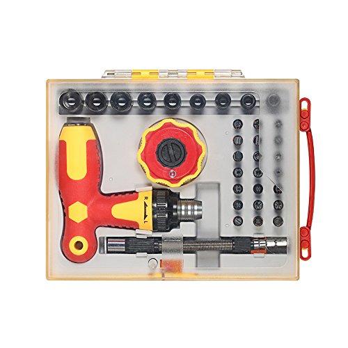 KKmoon 34 stücke multifunktionale Schraubendreher Steckdosen Set mit Hex Torx Schlitz Phillips Bits Elektrische Arbeit Reparatur-Tools Kit