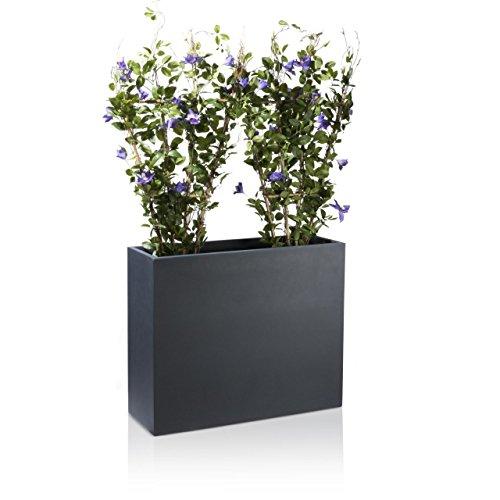 Raumteiler Pflanztrog DIVISOR Fiberglas Blumentrog - wetterfest, frostsicher und UV-beständig, stabiler & robuster Pflanzkübel, Farbe: anthrazit matt -