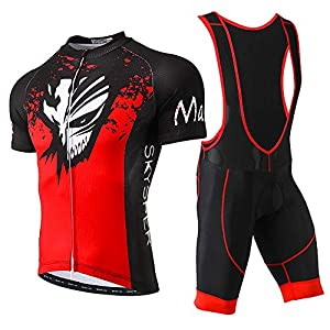 SKYSPER Cycling Jersey Maillot Jersey + Shorts Bib Short Sleeves Cycling Clothing Set Breathable Maillot for Outdoor Sports Cycling Bike