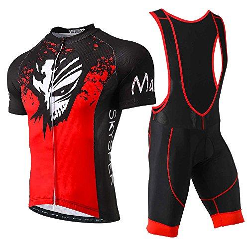 SKYSPER Set Abbigliamento Ciclismo Estivo Completo Ciclismo Maniche Corti e Salopette 360 Gradi Traspirante per Uomo Ciclismo