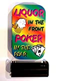 1oz hinged liquor in the front poker in the rear baccy tobacco tin rolling machine & papers
