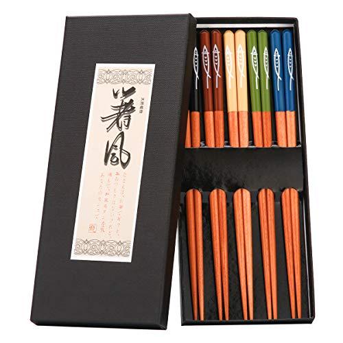 ZITFRI EssStäbchen 5 Farben Chopsticks Japanische Essstäbchen Holz Asia stäbchen - Wiederverwendbare Natürliche 23cm Holz Essstäbchen für Chinesische Geschirr