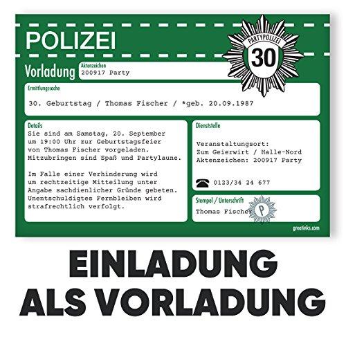Einladungskarten zum Geburtstag als Vorladung | 10 Stück | Inkl. Druck Ihrer Texte | Kindergeburtstag | Polizei | Individuelle Einladungen | Karte Einladung | Einladungskarte Jungen Mädchen
