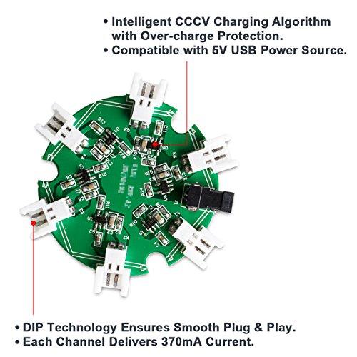 6 Stück Keenstone 3,7V 500mAh 25C LiPO Batterie mit 6-Port-Ladegerät für Hubsan X4 (H107 H107C H107D H107L V252 JXD385 F180C) 4 Kanal 2.4GHz RC QuadCopter Kompatibel mit Walkera Super CP - 7