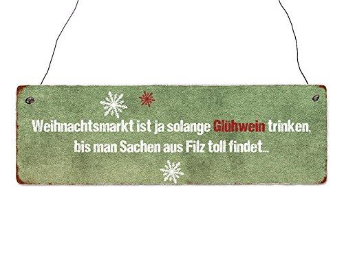 20x20cm METALLSCHILD Türschild EIN GLÜHWEIN Weihnachtsmarkt Geschenk Christmas