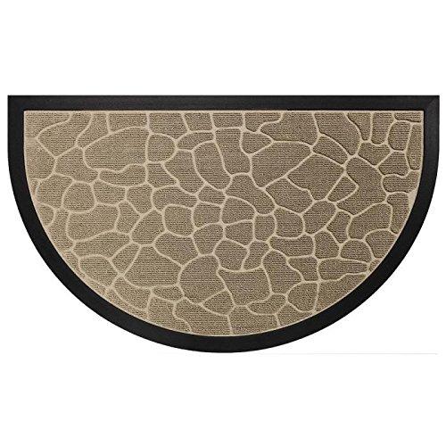 Deco Tapis   - 1740255, Tapete Entrada Media  Luna , 45 X 75 Cm , Demi,Lune Galets , Alfombra De Entrada , Beige