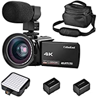 """CofunKool Camcorder Video Camera 4K IR Night Vision Ultra HD 60FPS 48MP 3.0"""" IPS Touch Screen 16X Digital Zoom WIFI Digital Camera Recorder with External Microphone, Wide Angle Lens, LED Video Light, DV shoulder bags, 2*Batteries"""