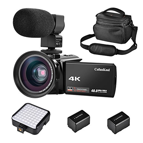 CofunKool 4k Ultra HD Camcorder nachtsicht infrarot Videokamera 30 FPS Video Camcorder WIFI Kamera Webcam HDMI - ausgang Camcorder 13.0 Mega pixels mit Externem Mikrofon und LED Kamera Licht + Weitwinkelobjektiv + 2 Batterien