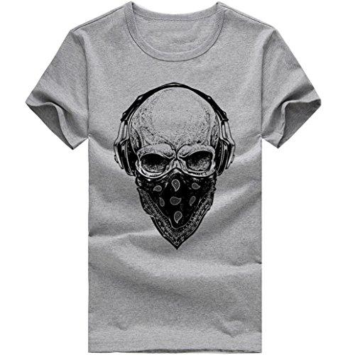 Xjp Herren Mode Kurzarm Schädel Gedruckt Roundhals T-Shirts (XXL, Grau) (Gedruckt Schädel)
