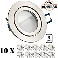 10er IP44 LED Einbaustrahler Set Silber gebürstet mit LED GU10 Markenstrahler von LEDANDO - 5W DIMMBAR - warmweiss - 110° Abstrahlwinkel - Feuchtraum / Badezimmer - 35W Ersatz - A+ - LED Spot 5 Watt rund
